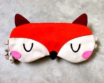 Fox Sleep Eye Mask, Fantastic Fox Mask, Fox sleep mask, sleeping mask, eyemask, cosplay mask, blindfold, beauty sleep mask - ORANGE FOX