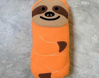 Sloth Plush Toy, Sloth Soft Toy, Huggable Sloth, Sloth Cushion, Sloth Softie, Sloth Pillow, Fleece Soft Toy - The Slothful One (Apricot)