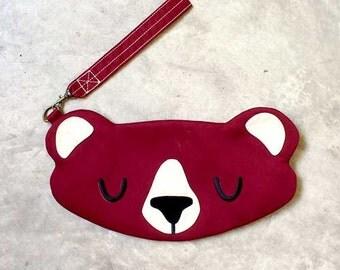 Bear Purse, Bear Wristlet, Bear Pouch, Bear Wrist Pouch, Bear Clutch, The Honey Bear, BURGUNDY Color