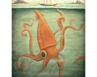 Kraken Underneath / Large Print 11x14