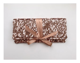 The Sequin clutch in rose gold pink // bridesmaid clutch