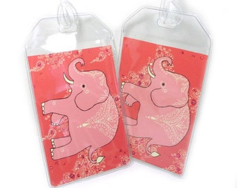 Elephant Luggage Tags - set of two - pair of mehndi elephant baggage tags - peach and coral travel accessories - traveler gift