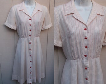 Vintage 50s White w/ Red Polka Dot Day Dress / 50s to 60s Rockabilly Western swing frock // Sz Sml - Med/