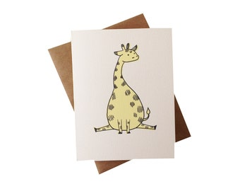 Baby Giraffe Card - animal stationery - baby shower thank you card