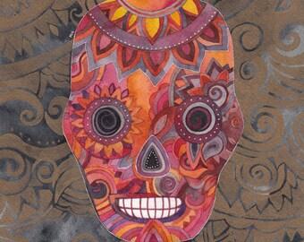 Sunset Sugar Skull Print by Megan Noel
