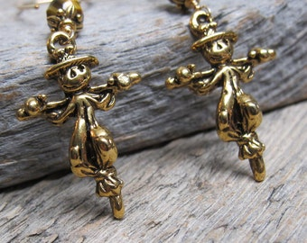 Trick or Treat - Scarecrow earrings ... antiqued gold with 14K gold fill earwires and tiger's eye