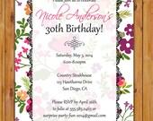 Spring Floral Birthday Party Celebration Invitation Floral Burst Colorful 30th 50th 60th Milestone Birthday 5x7 Digital JPG  Printable (174)