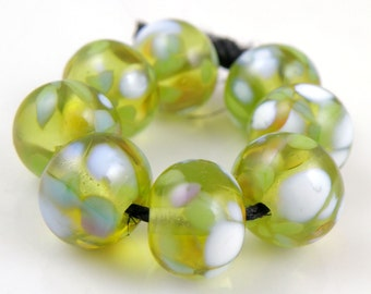 Lily Pond - Handmade Artisan Lampwork Glass Beads 8mmx12mm - Green, Blue, White - SRA (Set of 8 Beads)