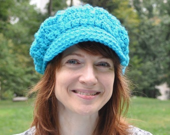 Aqua Blue Crocheted Newsboy Cap - Women's Newsboy Hat - Crocheted Hat with Brim Winter Accessories