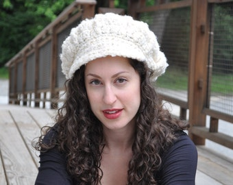 Newsboy Cap in Off-White Boucle - Crocheted Hat - Women's Hat - Off-White Hat - Winter White Hat - Newsboy Hat