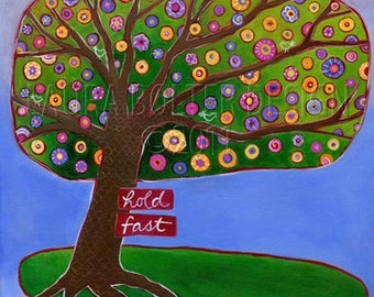 Whimsical Tree / Original Painting / Hold Fast