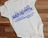 Philadelphia Boathouse Row organic cotton baby one piece, gender neutral, baby shower gift, Philly baby gift, art museum, schuykill