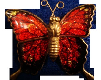 Vintage red Enamel Butterfly Brooch on gold tone