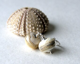 Lampwork Glass Earrings - Ivory Swirl Glass Earrings   - lampwork glass bead earrings - Glass Drop Earrings