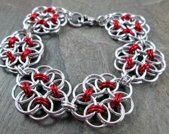 Chainmaille Bracelet - Helm Weave - Red and Silver - Chainmaille Jewelry