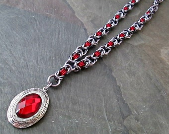 Chainmaille Necklace - Byzantine Weave - Chainmaille Jewelry - Red Locket Necklace
