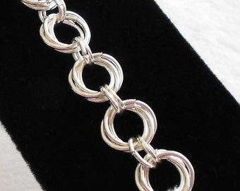 Chainmaille Bracelet - Chain Mail Bracelet - Chain Maille Bracelet - Mobius Rosette - with FREE Matching Earrings - Ready to Ship