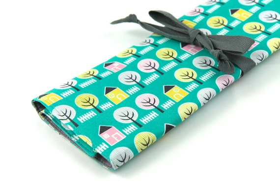Large Knitting Needle Case - House and Garden - 30 gray pockets for circular, straight, dpn, or paint brushes