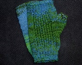 Variegated Blue and Green Wool Hand Knit Fingerless Gloves