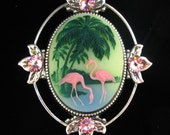 Cameo Brooch or Pendant Pink Flamingo and Palm Tree with Crystal Accents