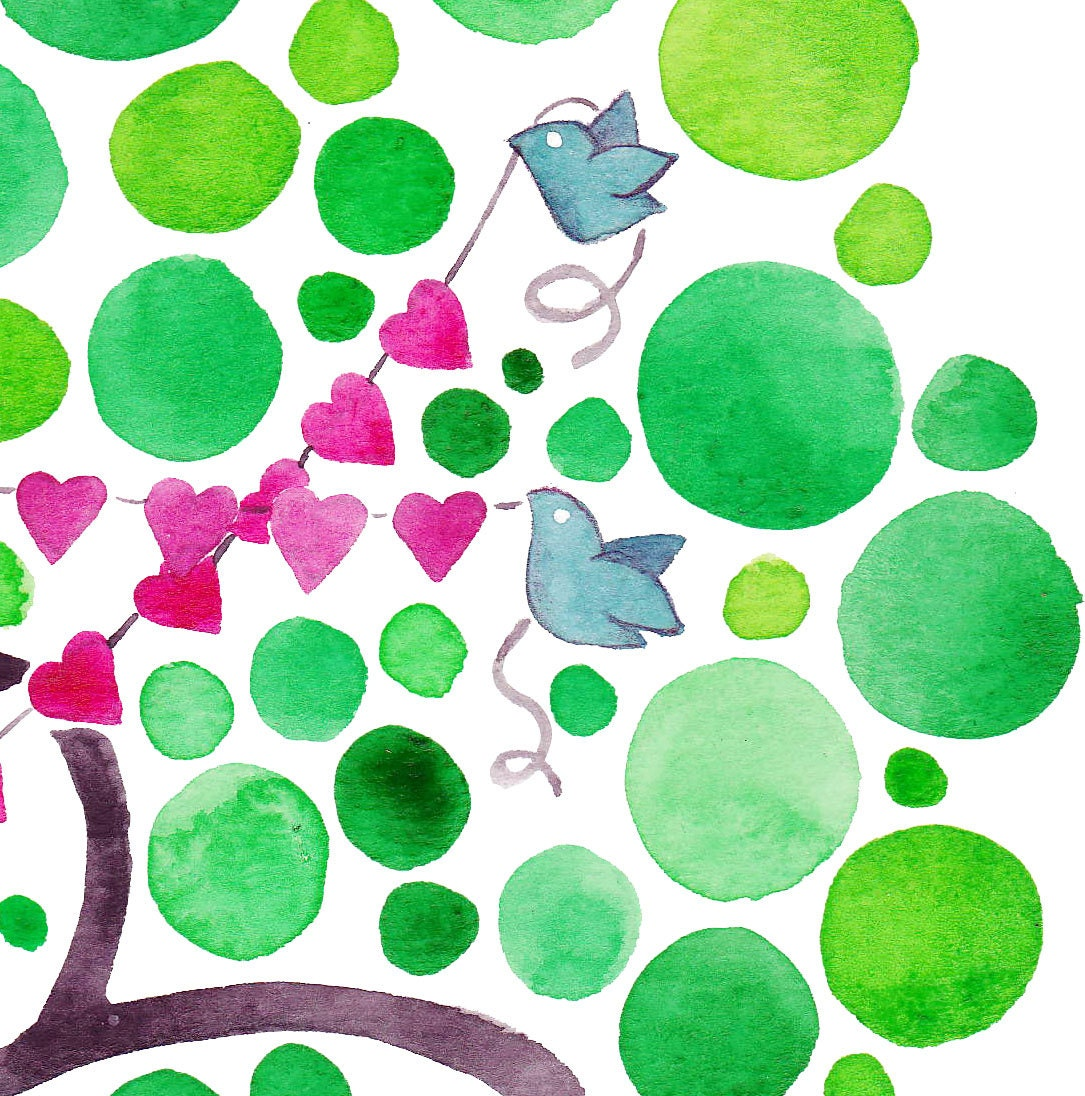 Heart Strings Original Watercolour Painting Valentines Day Landscape Art