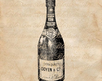 CHAMPAGNE BOTTLE Graphic Image Download Instant Download Scrapbooking Digital Collage Sheet