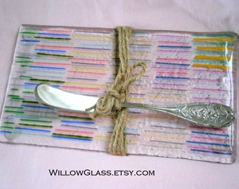 Fused Glass Serving Tray,  Glass Sushi or Cheese Tray with Server, Willow Glass, OOAK, Home Decor