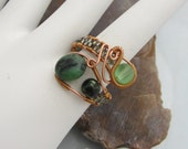 Handmade Wire Wrapped Copper ring with Zoisite Stone Bead