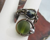 Antique Copper Wire Wrapped Sea Glass Adjustable Ring