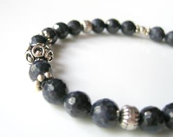 Modern Genuine Sapphire Bracelet, Blue Sapphire and Sterling Silver Beaded Bracelet,  September Birthstone, Dark Blue Boho Sapphire Bracelet
