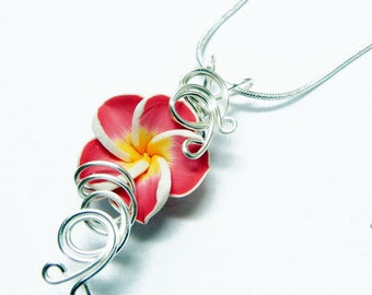 Perfume Pendant - PREMADE - Aromatherapy Wire Wrapped Red Polymer Clay Tropical Plumeria Flower