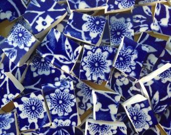 Royal Blue Calico Chintz Floral Broken China Mosaic Tile Art Tiles Cheap Shipping