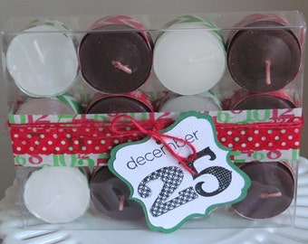 Holiday tea light gift set - great for stocking stuffers, teacher / neighbor gifts, etc.!!  - Red & white