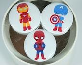 Set of 8 Super Hero Magnets, bat man, spider man, captain america, flash, iron man, green lantern, super man, fathers day gift, teacher gift