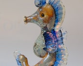 Astor the Lampwork Glass Seahorse Focal Bead for Jewelry by Marcy Lamberson