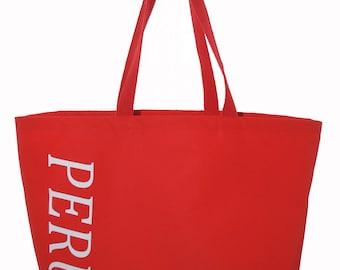SALE  Red Waterproof Canvas PERU Tote Bag  SALE