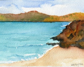 Aruba watercolors paintings original , lovely sea with rocky beach,  Ocean Art 4 by 6 inches, 4 x 6 watercolor seascape, SharonFosterArt