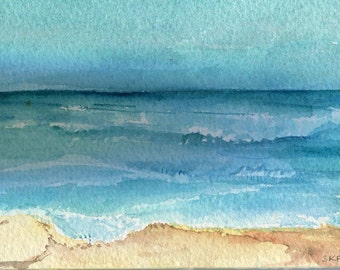 Aruba seascape watercolors painting original, 4 x 6 inches, Original painting, ocean art, seascape watercolor, waves watercolor