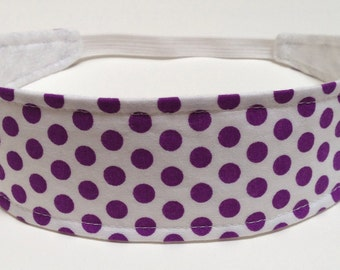 Headband for Girls, Child's, Children's Headband   - Purple Dots on White  -  Reversible Fabric Headband  - PURPLE POLKA DOTS