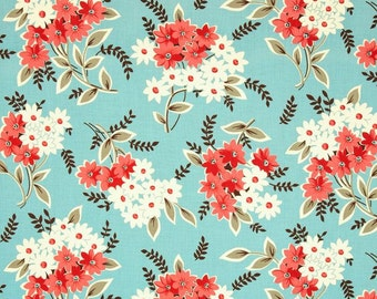 Fat Quarter, Floral Bouquet Fabric in Turquoise Flea Market Fancy by Denyse Schmidt