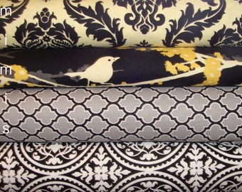 Joel Dewberry Fabric / 2 Half Yard Bundle / Gray  / Aviary 2  / True Colors - Cotton Quilt Apparel Fabric