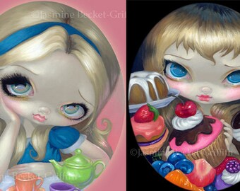 Alice's Tea Party and Tea Party Treats set of TWO 8x10 art prints by Jasmine Becket-Griffith SIGNED wonderland cookie cake pie