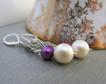 Pearl Earrings, Purple Pearls, White Pearls, Silver Earrings, Infinity Earrings, Dangle Earrings, Sterling Silver, Pearl Jewelry,