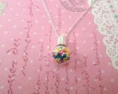 Bubblegum Sprinkle Necklace, Miniature Food Jewelry