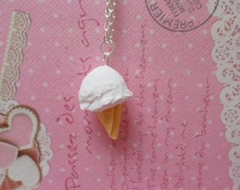 Miniature Food Jewelry: Vanilla Ice Cream Cone Necklace, polymer clay food necklace