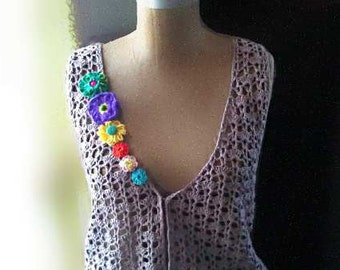 Upcycled Waistcoat, Vest, Hand Crocheted, Flowers, Yo Yos, Fringe, Boho, Jacket