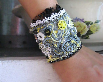 Art Deco Bracelet, Lemon, Grey, Beaded, Boho, Black, White, Intricate Detail, Yellow, Pretty Bracelet