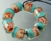 Lampwork Boro Beads Set of 8 Handmade Boro Borosilicate Glass Barrels Rolos Tubes StoneyMarie