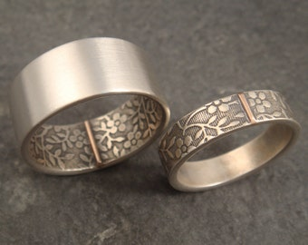 RESERVED for Kaci -- Opposites Attract Wedding Band -- Aloha Pattern