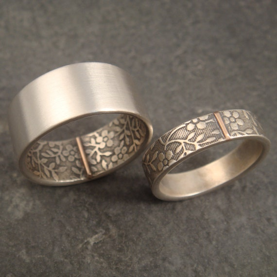 Pinterest Wedding Rings Wedding Band Set Opposites Attract Wedding Rings Aloha Pattern In